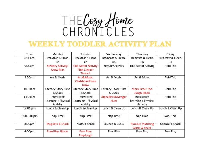Weekly toddler plan